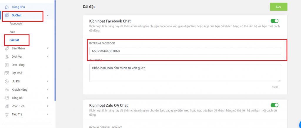 Cách kết nối facebook chat với website