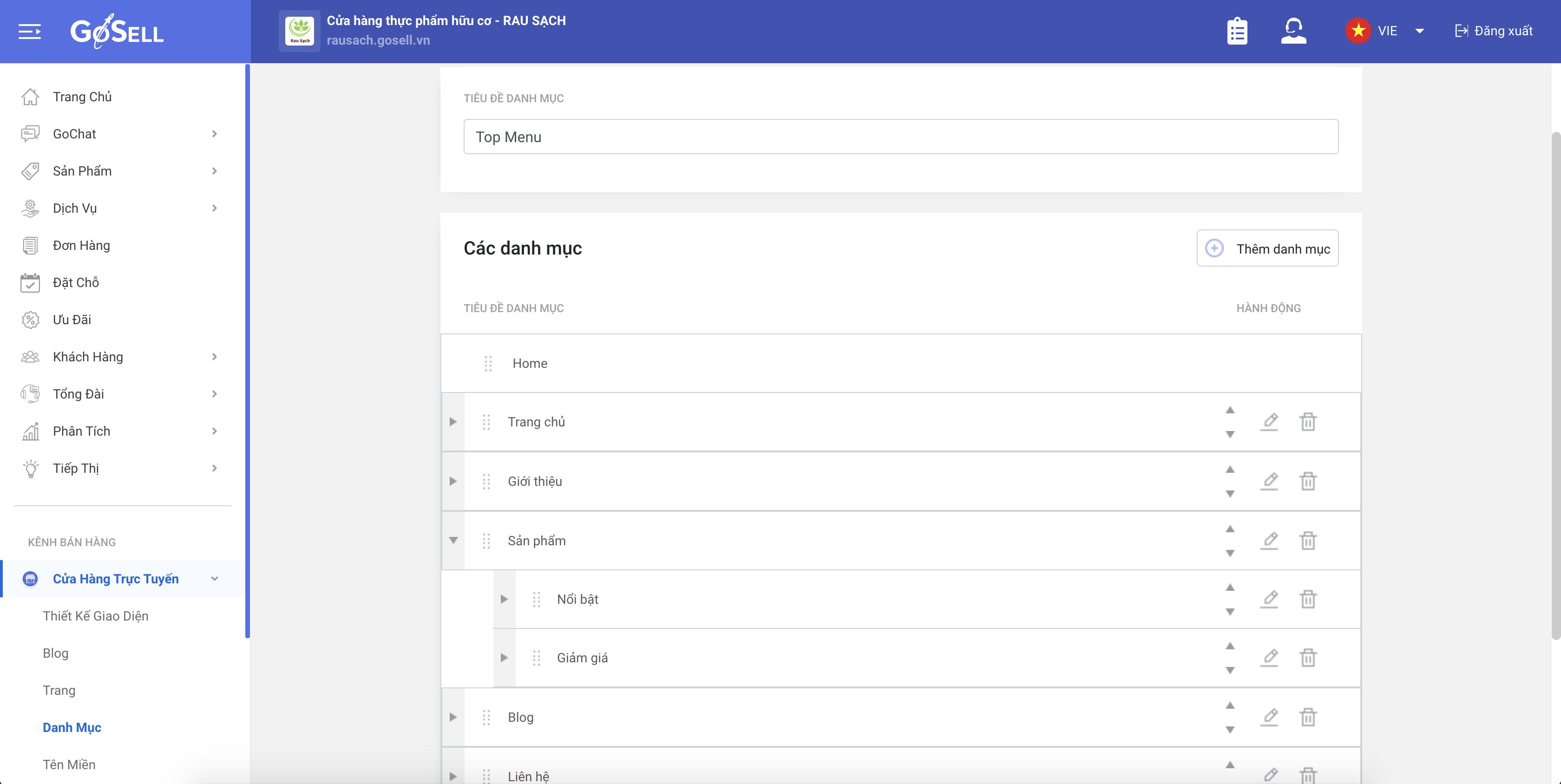 Cách cập nhật danh mục hiển thị trên thanh menu