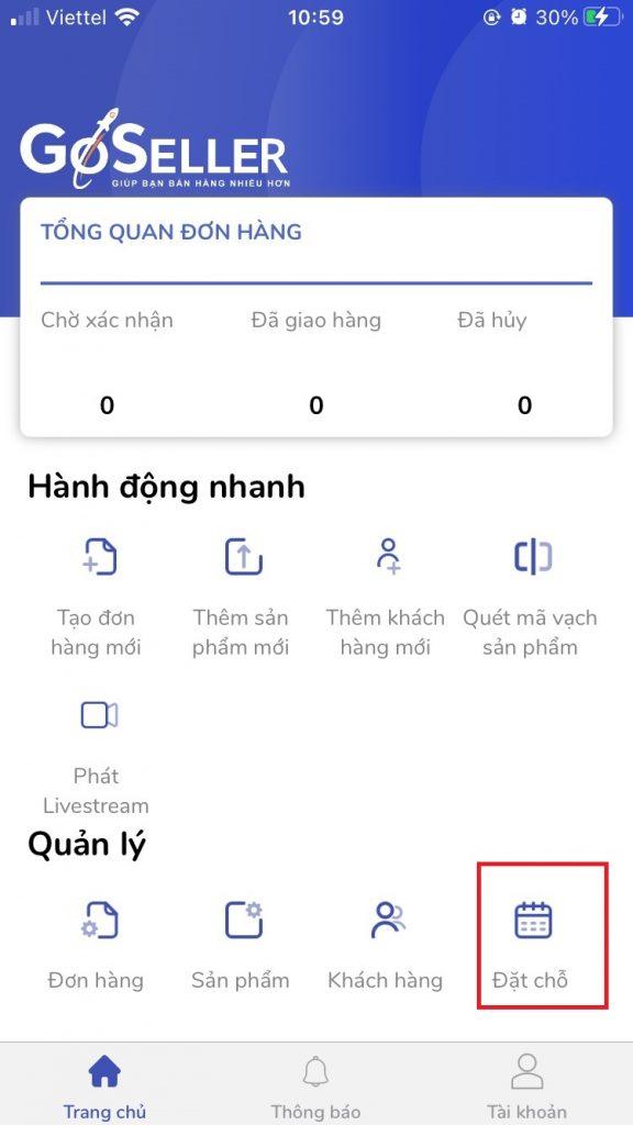 Xử lý đặt chổ trên app GoSELLER