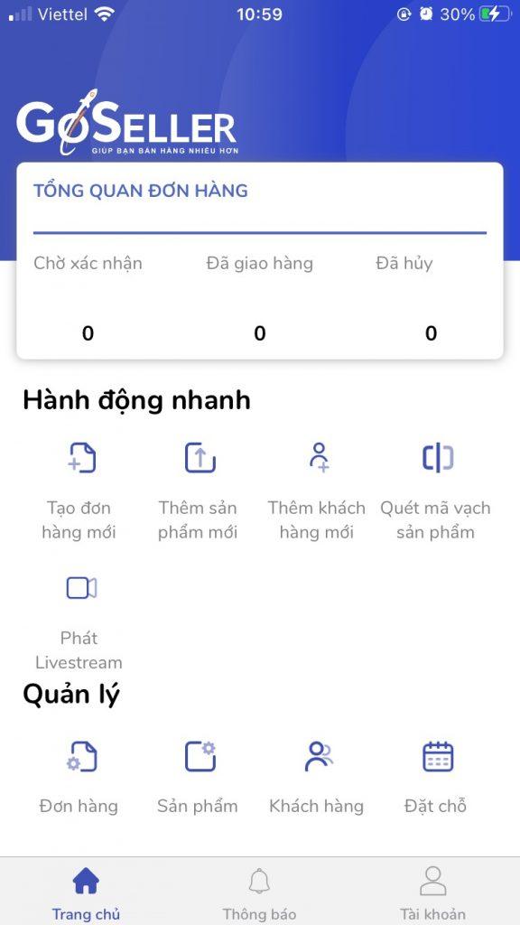 Màn hình giao diện app GoSELLER