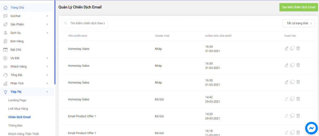 Tạo chiến dịch email marketing